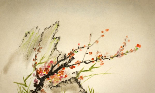 Mountain bamboo and plum branch